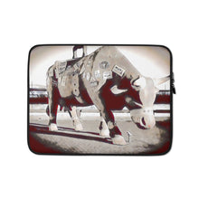 Load image into Gallery viewer, A bull ready for shipping Laptop Sleeve
