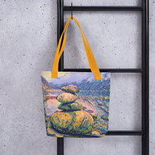 Load image into Gallery viewer, Norway lake stone sculpture tote bag