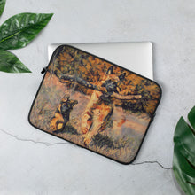 Load image into Gallery viewer, Father showing a youngling how to fetch a log Laptop Sleeve
