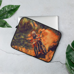 Fiery dirt bike rider Laptop Sleeve