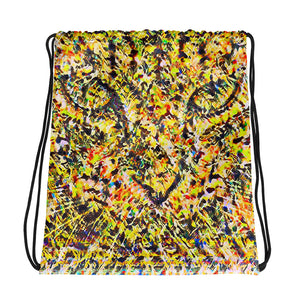 Abstract colorful drawstring bag with a majestic cat