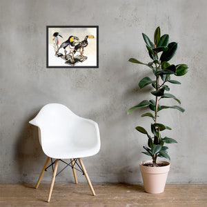 A Flock Of Curious Toucans Framed poster