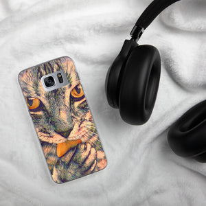 Cat licking a paw Samsung Case