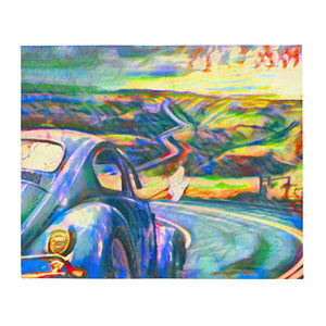 Riding into colorful sunset Throw Blanket
