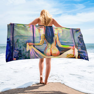 Looking through the window Beach Towel