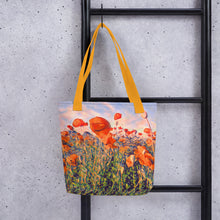Load image into Gallery viewer, Watercolor poppy seed field tote bag