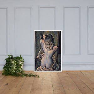 Nude woman with a mirror, Framed poster