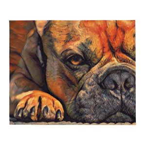 Resting dog painting Throw Blanket