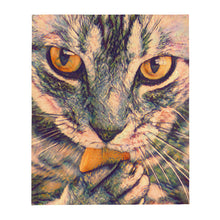 Load image into Gallery viewer, Cat licking a paw Throw Blanket