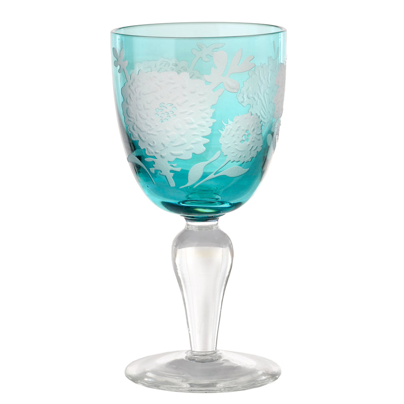 Pols Potten Wine Glass Peony Multicolour - Set of 6 (5154668675207)