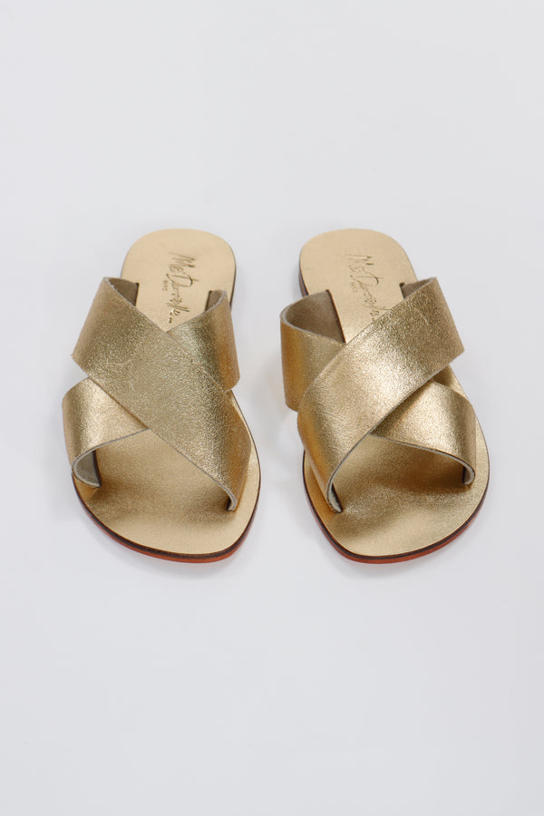 Ankh Sandals by Mes Demoiselles, Crossed design, Golden Tone, Designed in Paris, New arrivals 2021. Espace Cannelle