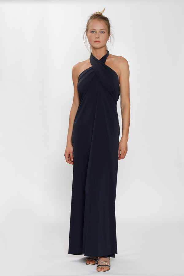 Caro Long Dress by ERES, 94% Polyamide, 6% Spandex, Colour: Navy Blue, Multi-way style, Flared hem, Made in France. New Arrivals Spring/Summer 2021, Espace Cannelle