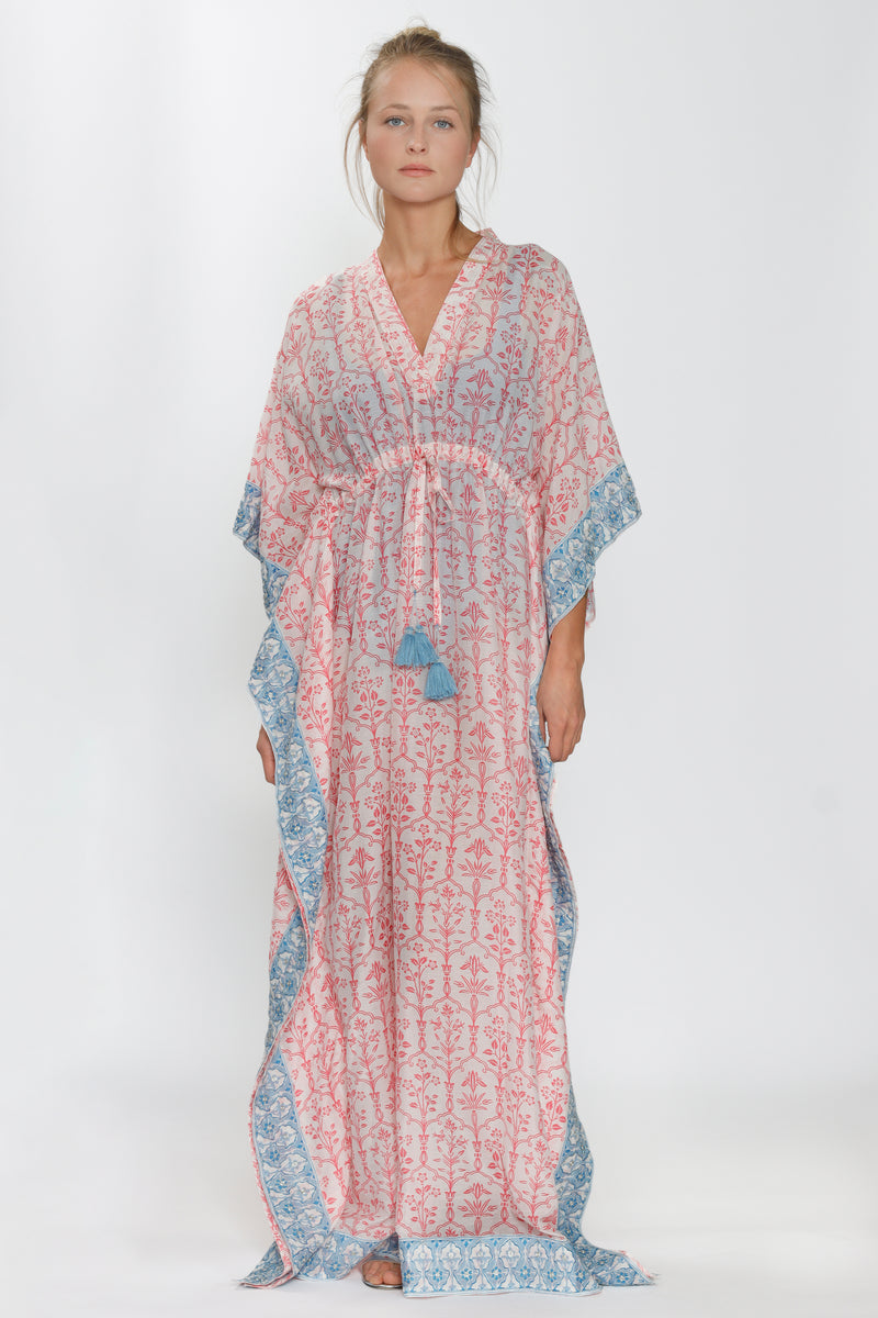 Long Kimono by Dandy & Brooks, 50% Cotton, 50% Silk, Light pink/Blue, Geometric Print, Embroidered Lurex, New Arrivals Spring 2021, Espace Cannelle