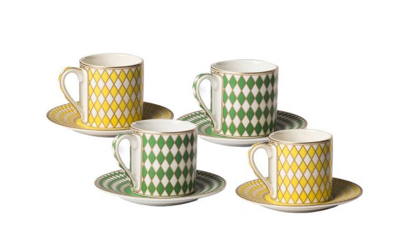 Chess Espresso Set by Pols Potten, Material: Porcelain, Colour: Green & Yellow, Gold decorations, New Arrivals 2021, Espace Cannelle
