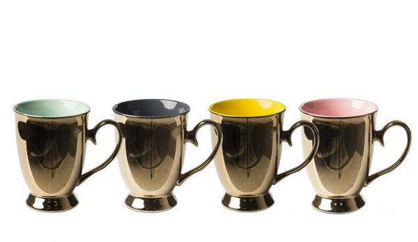 Tea Set Legacy Gold by Pols Potten, Material: Porcelain, Colour: Gold exterior, colourful interior, Chess Series, New Arrivals 2021, Espace Cannelle