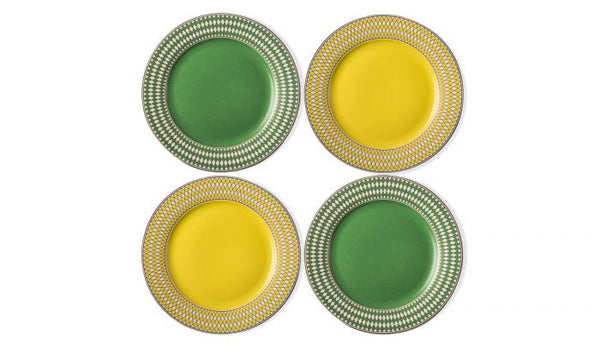 Chess Side Plates by Pols Potten, Material: Porcelain, Colour: Yellow & Green, Gold decorations, Chess Series, New Arrivals 2021, Espace Cannelle