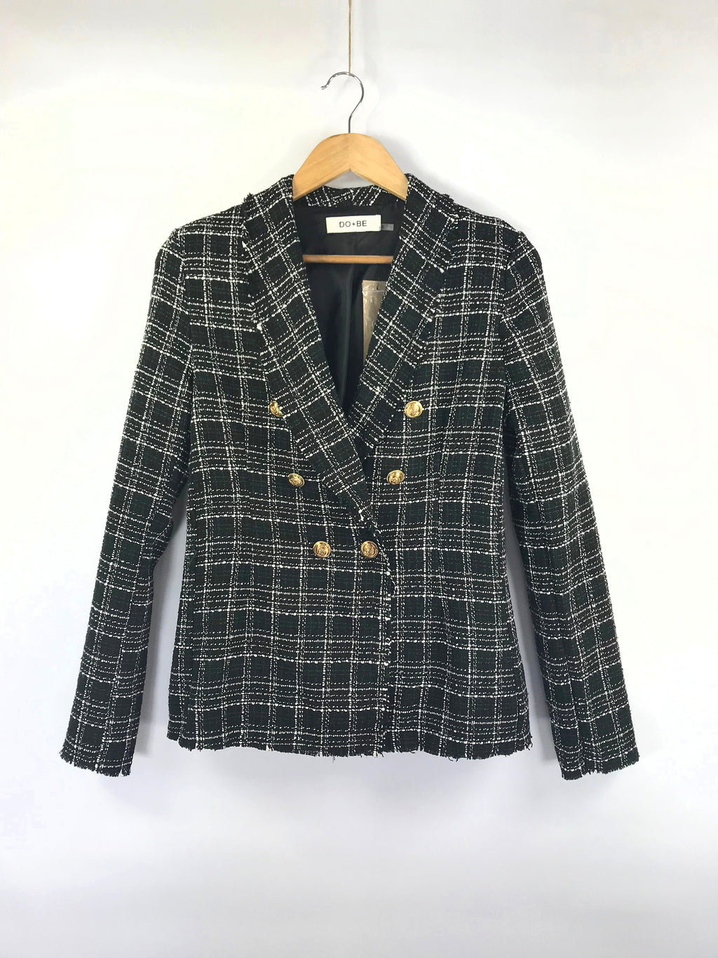 Frayed Edge Plaid Tweed Jacket