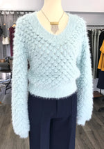 Pastel Blue V-neck Crop Sweater