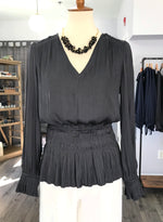 Pleated Long Sleeve Blouse in Carbon