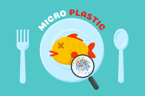 fish on a plate with microplastics