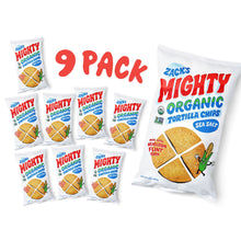 Load image into Gallery viewer, 9 Pack of Zack's Mighty Tortilla Chips bags.