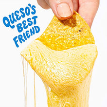 Load image into Gallery viewer, A tortilla chip covered in queso dip with text that reads Queso's best friend.