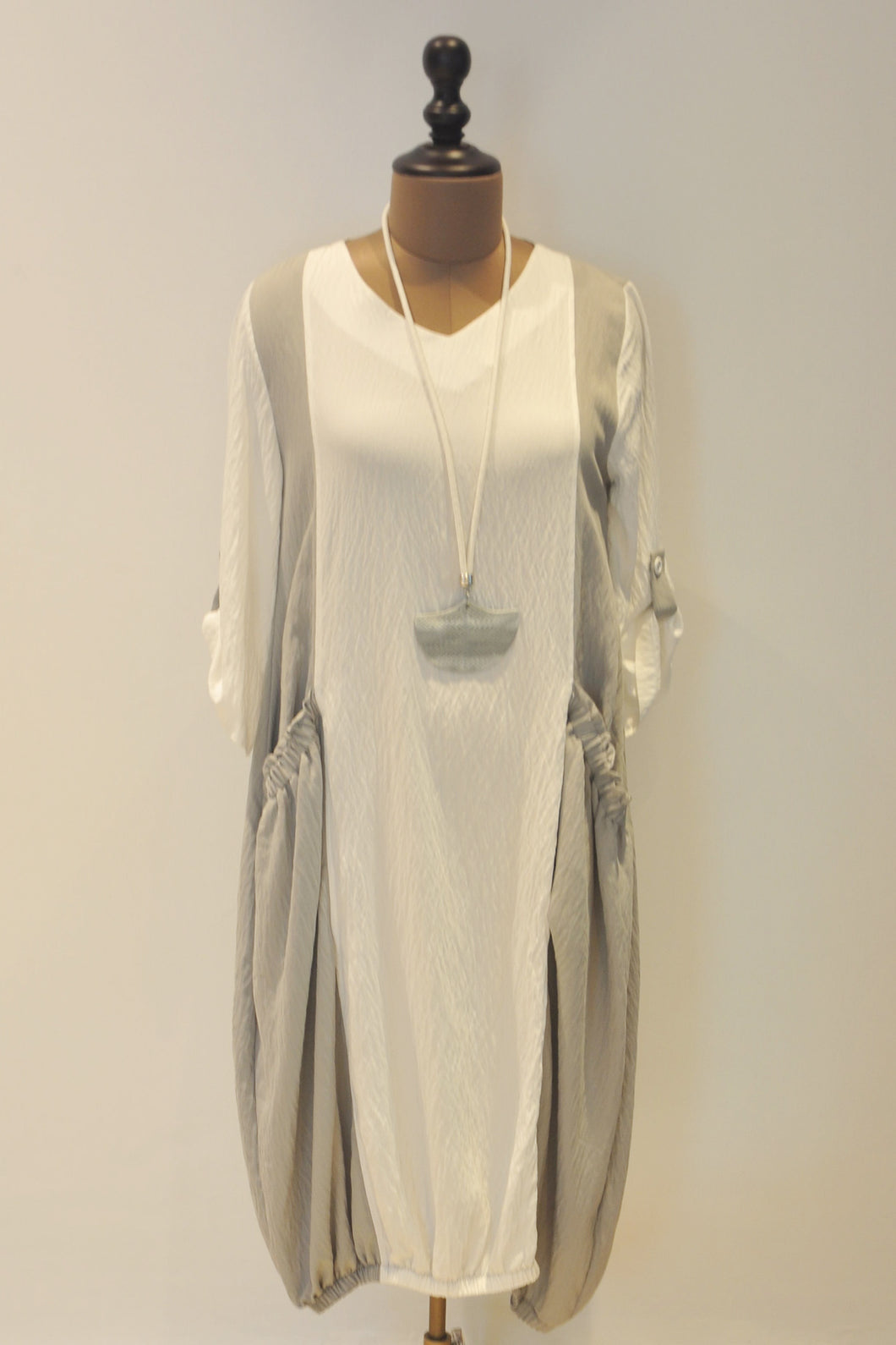 White and Grey Jumper Dress With Necklace