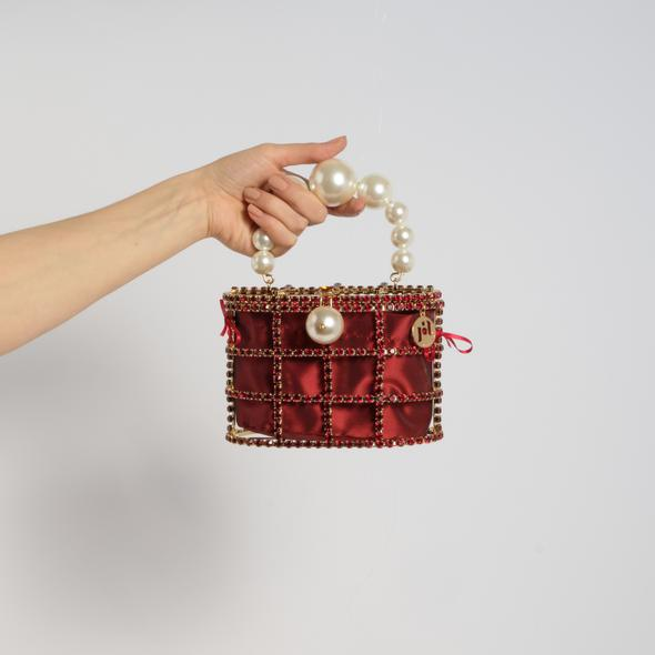 Holli Crystal-Embellished Cage Clutch -  Burgundy