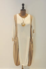 Load image into Gallery viewer, White and Beige Jumper Dress With Necklace