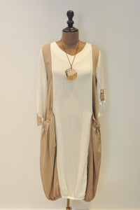 White and Beige Jumper Dress With Necklace
