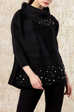Load image into Gallery viewer, Turtle Top with Pearl Embellishment - Black