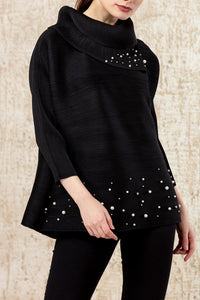 Turtle Top with Pearl Embellishment - Black