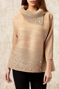 Turtle Top with Pearl Embellishment -  Beige