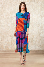 Load image into Gallery viewer, Colour Me Up Issey Dress - Orange & Blue