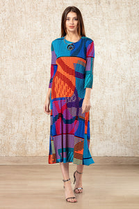 Colour Me Up Issey Dress - Orange & Blue