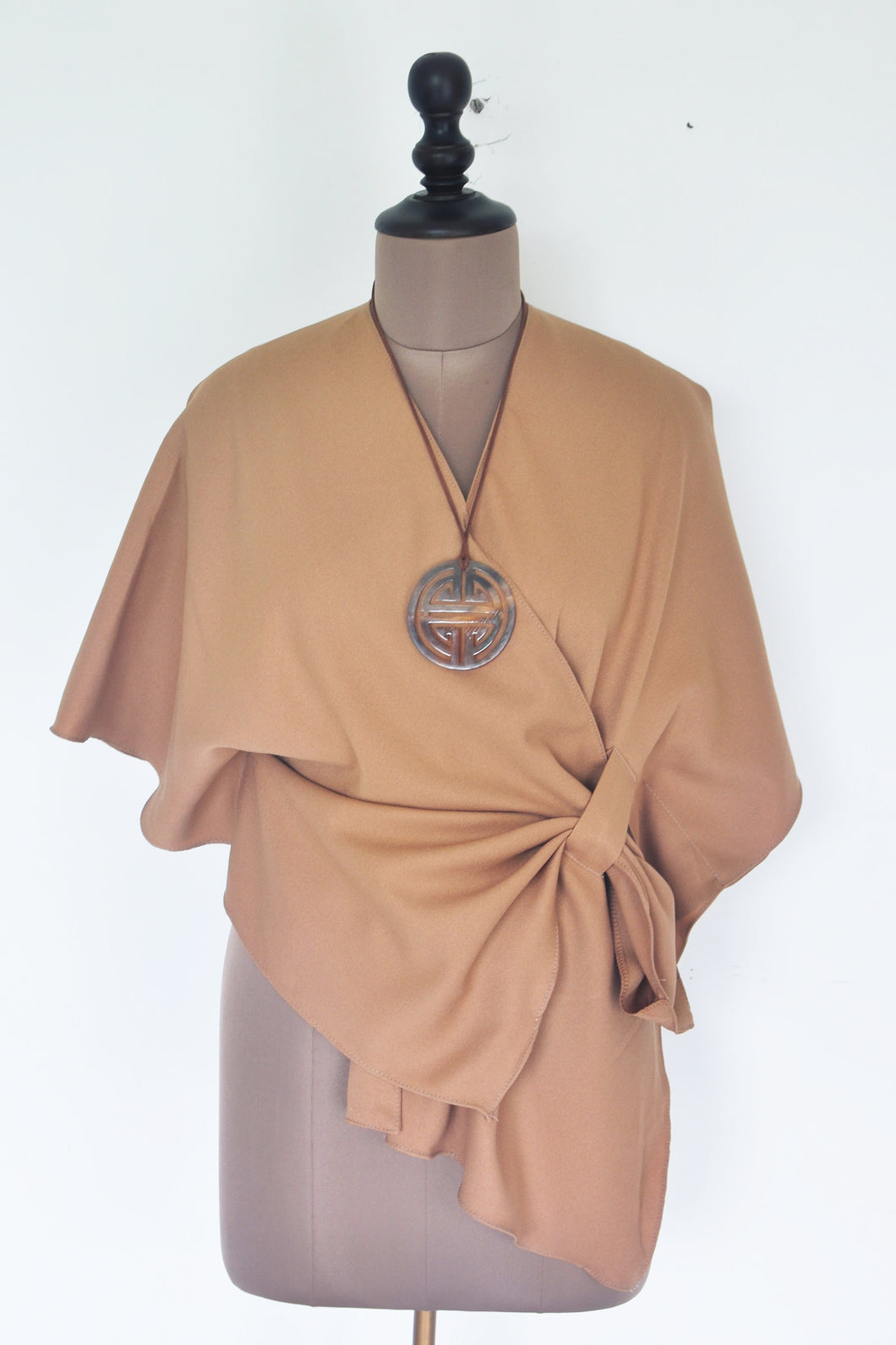 Cross Over Top With Necklace- Beige