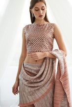 Load image into Gallery viewer, Scintillating Sewed Pleated Sharara Saree - Metallic Blush Peach