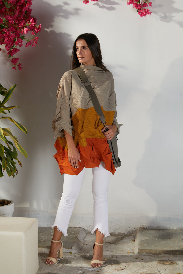 Apoc Top - Taupe & Orange