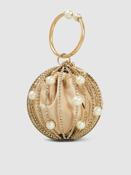 Sasha Pearl And Crystal Cage Clutch