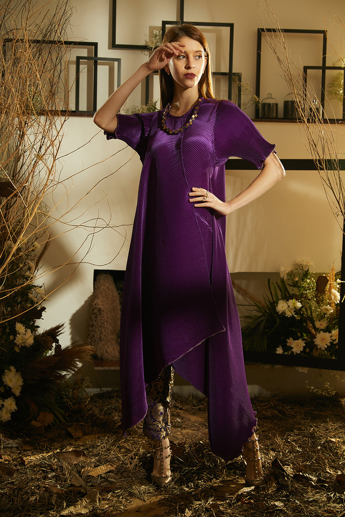 Asymetrical Cape Dress with Brocade Pants - Purple