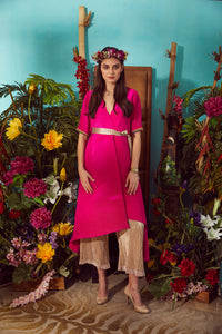 Asymetrical Cape with Gold Pants and Belt- Fuschia Pink