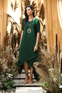 Asymmetrical Cape Dress - Green