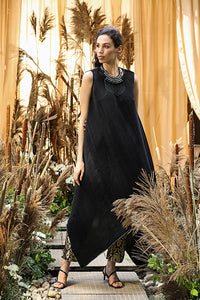 Asymmetrical Cape with Brocade Pants - Black