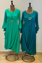 Load image into Gallery viewer, Asymmetrical Drape Dress-Teal Green
