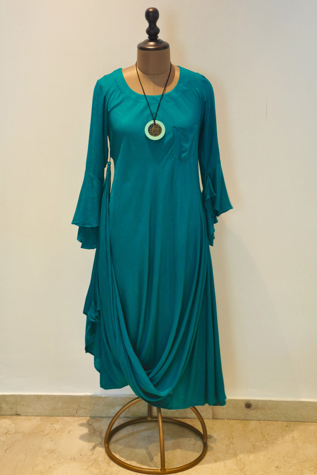 Asymmetrical Drape Dress-Teal Green