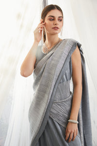 Classy Pleated Gown Saree - Metallic Powder Blue