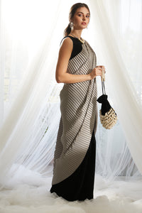 Classy Pleated Colorblock Gown Saree - Black Gown with Grey Drape