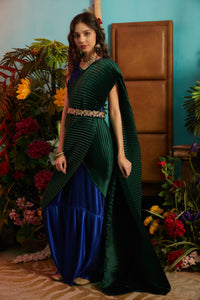 Classy Pleated Colorblock Gown Saree - Electric Blue Gown with Emerald Green Drape