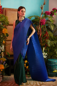 Classy Pleated Colorblock Gown Saree - Emerald Green Gown with Electric Blue Drape