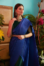Load image into Gallery viewer, Classy Pleated Colorblock Gown Saree - Emerald Green Gown with Electric Blue Drape